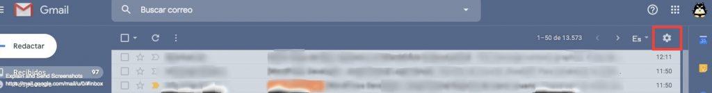 Acceso a opciones de Gmail
